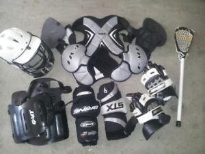assorted lacrosse gear