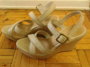 Ugg beige leather clogs, size 9