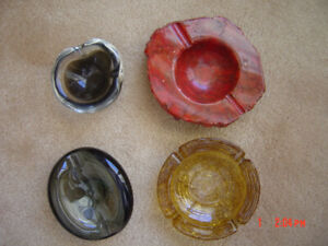 Collectible Lot of 4 Vintage Ashtrays~3 Heavy Glass & 1 Stone