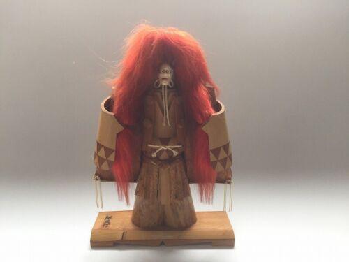 V0839 Japanese Bamboo Hannya Statue Vintage Okimono Kabuki Signed Interior