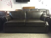 SOFA BED IN BRIWN ITALIEN LEATHER WITH MATTRESS MADE IN CANADA