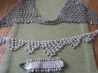 Silver Bra and Belt ,Bracelet Set