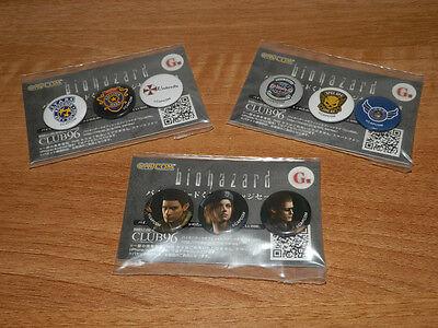BIOHAZARD HD Japan Promo Limited Pins Set STARS Chris Jill Wesker Resident Evil