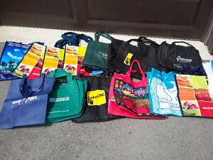 Lot of 20 assorted reusable tote bags shopping bags EUC