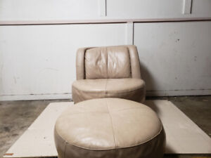 Beige  Single Chair With Ottoman
