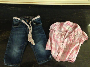 American Eagle Girls Shirt and Jeans - 6-9M
