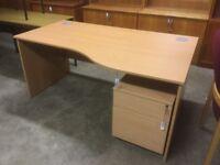Beech corner desk with matching underdesk pedestal drawers.
