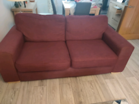 2 DFS 3 Seater Sofas - mulberry