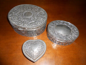 THREE ANTIQUE SILVER PLATED BOXES