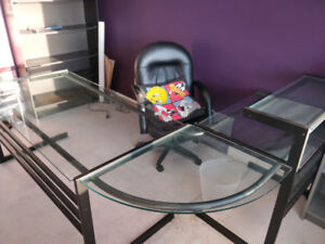 SALE!!! Glass and Metal Desk Table