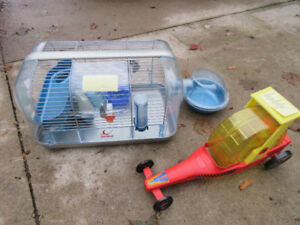 Hamster cage with pod and exercise car toy
