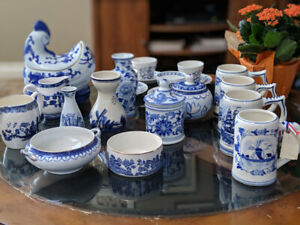 Wedding set:  Delft pottery set with birch decorative pieces