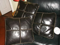 3 LEATHER AND MICROFIBER THOW PILLOWS FOR $30