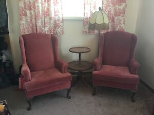 2 wing chairs and a antique table for sale