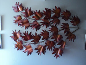vintage copper leaves wall decor
