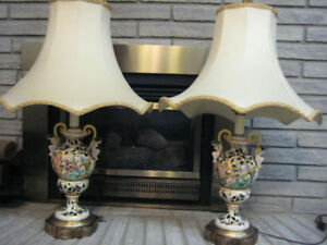 Antique  Capodimonte Lamps and Vase- Made in Italy 800.00