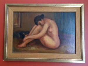 ANTIQUE PAINTING  - oil on plywood