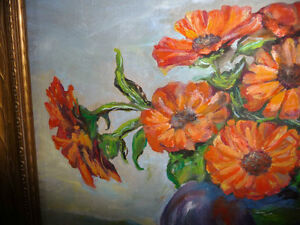 Vintage Still Life of Zinnias In A Blue Vase by M. Oliphant '47 Stratford Kitchener Area image 3