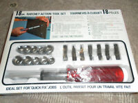18 pc ratchet action tool set NEW