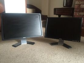 Two Dell Pc Monitors for parts/repairs