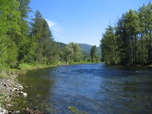 RV Lot on Moyie River includes 33 ft. Toy Hauler