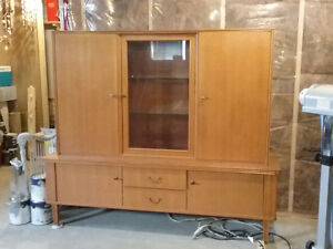 Golden oak French style China cabinet