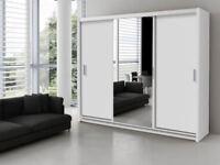 Brand New 3 Door Monaco Sliding Wardrobe Cupboard with Full Mirror, Drawers, Shelves, Rail