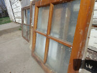 Old windows, 78 yrs old, picture frame, wood & glass