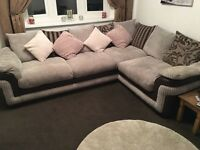 DFS corner sofa, swivel chair and storage footstool
