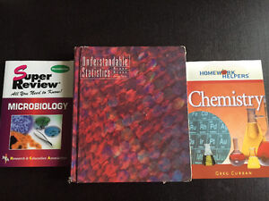 Textbooks: intro to stats, microbiology and chemistry