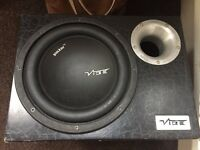 10 inch vibe CBR subwoofer with built in amplifier - 1200 watts
