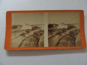 ANTIQUE STEREOVIEW CALEDONIA MILL ON BUILDING END.