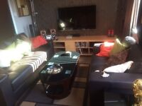 Leather sofa suite two and armchair hardly used