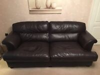 2 seater and 3 seater DFS Leather sofas and matching footstool