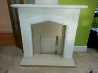 Complete fire place surround White and Cream with tiles