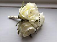 Silk flower corsage / buttonhole Wedding / Prom