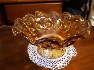 Amber yellow depression glass compote