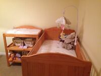Pine cot bed and changer