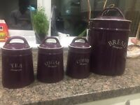 Dunelm Kitchen Tea, Coffee and Sugar Canisters and Bread Bin Set Purple