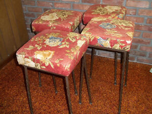 SET OF 4 VINTAGE 1960'S BAR STOOLS WITH SPIRAL LEGS $60.00