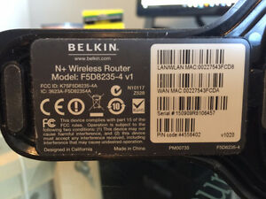 Belkin N+ Wireless Router (F5D8235-4) Strathcona County Edmonton Area image 2