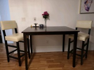 IKEA High table and 2 leather high chairs