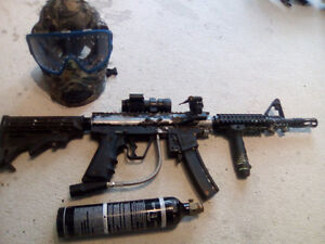 Paintball marker mask and tank