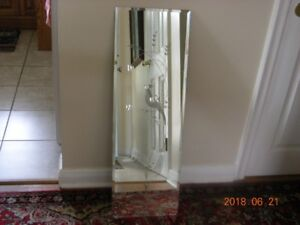 PAIR VINTAGE BEVELLED MIRRORS W/ENGRAVED BIRDS OF PARADISE