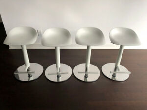 Brand-New, Modern, Adjustable White Bar Stools (Set of 4)
