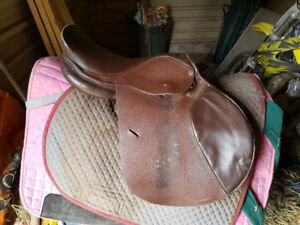 2 English school saddles