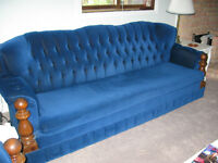TUFTED NAUTICAL COUCH AND CHAIR
