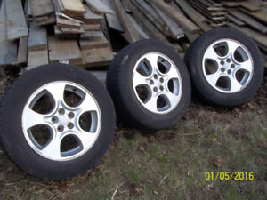 3 ALUMINIUM  RIMS AND TIRES SUBRU