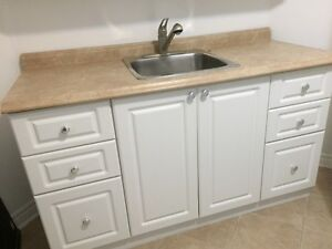 Kitchen cabinets,countertops & sink with faucet, like new