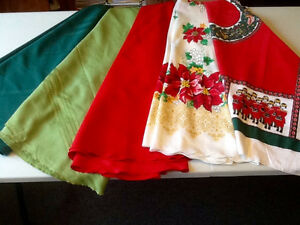 6 TABLE CLOTHS - VARIOUS COLOURS & SIZES - SEE BELOW